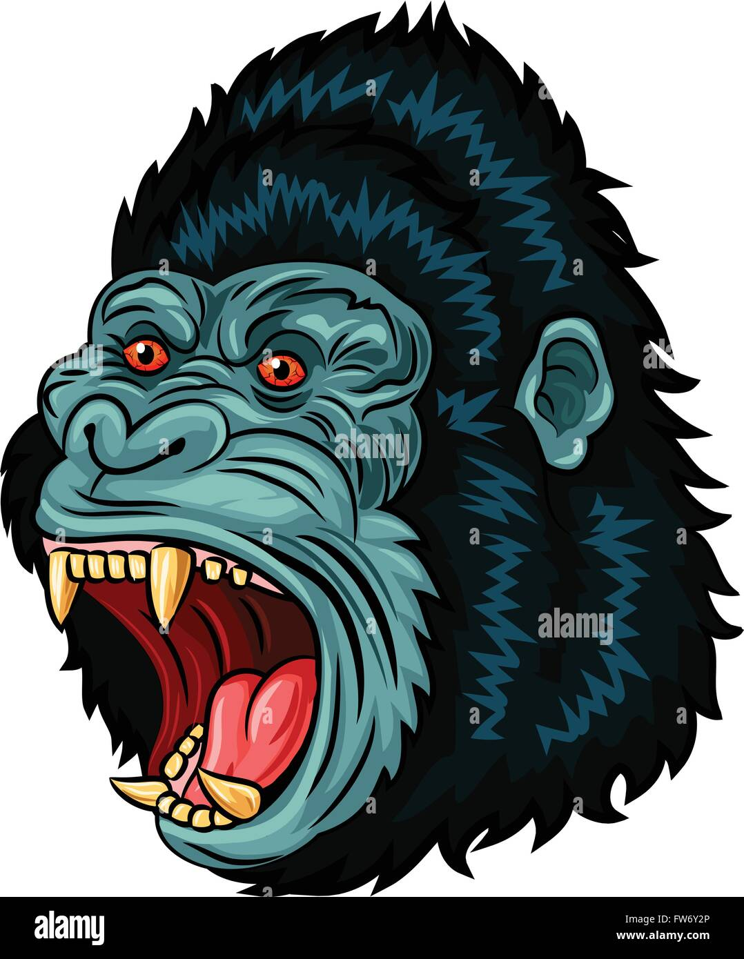 c7c6247d5 Illustration of Angry gorilla head character isolated on white background