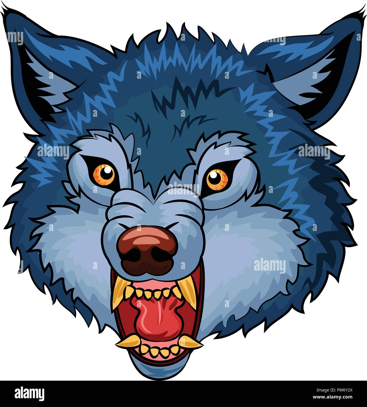 illustration of angry wolf cartoon character stock vector art