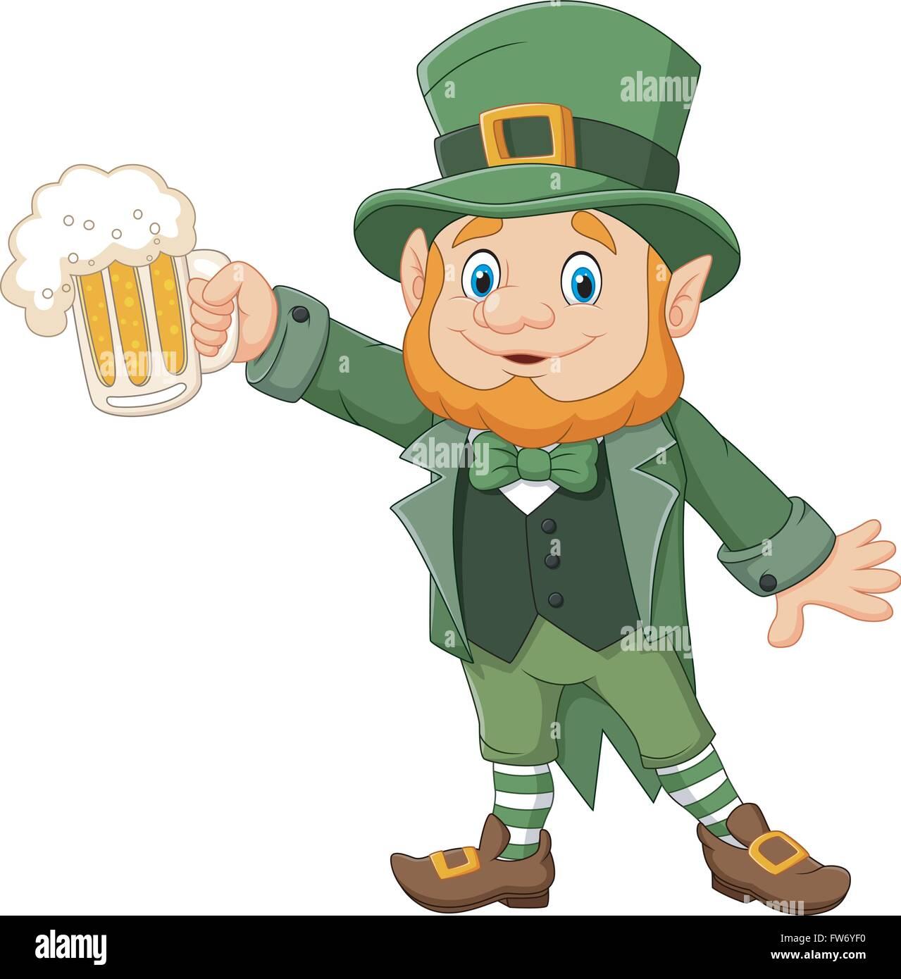 cartoon st patrick s day leprechaun with mug beer stock vector art