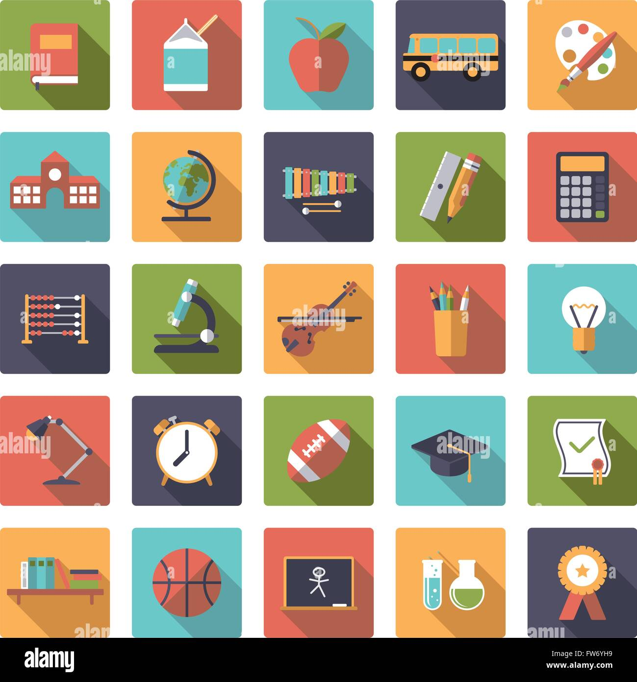 Education, school, college and university related icons in rounded squares, flat design, long shadow - Stock Image