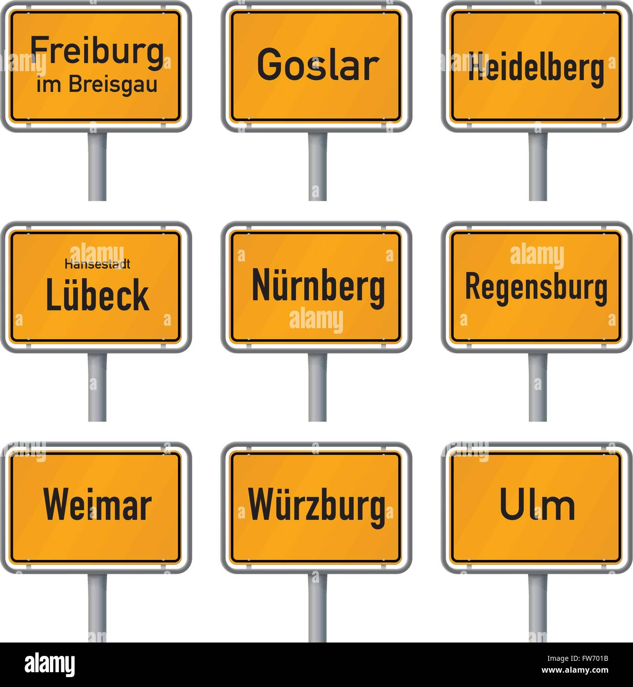 City limits signs of Germany's most visited historic cities isolated on white background, part 2 - Stock Image