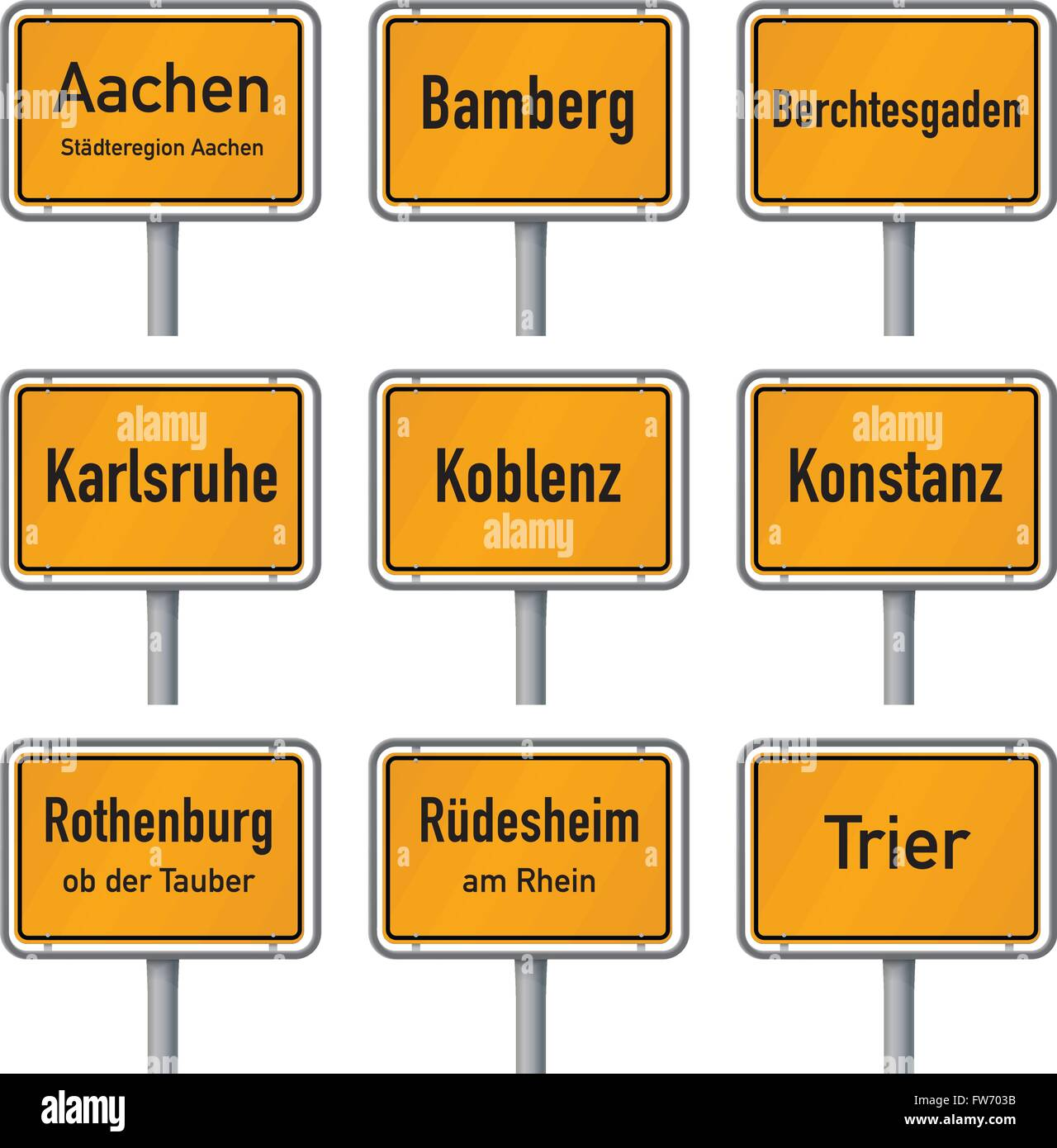 City limits signs of Germany's most visited historic cities isolated on white background, part 1 - Stock Image