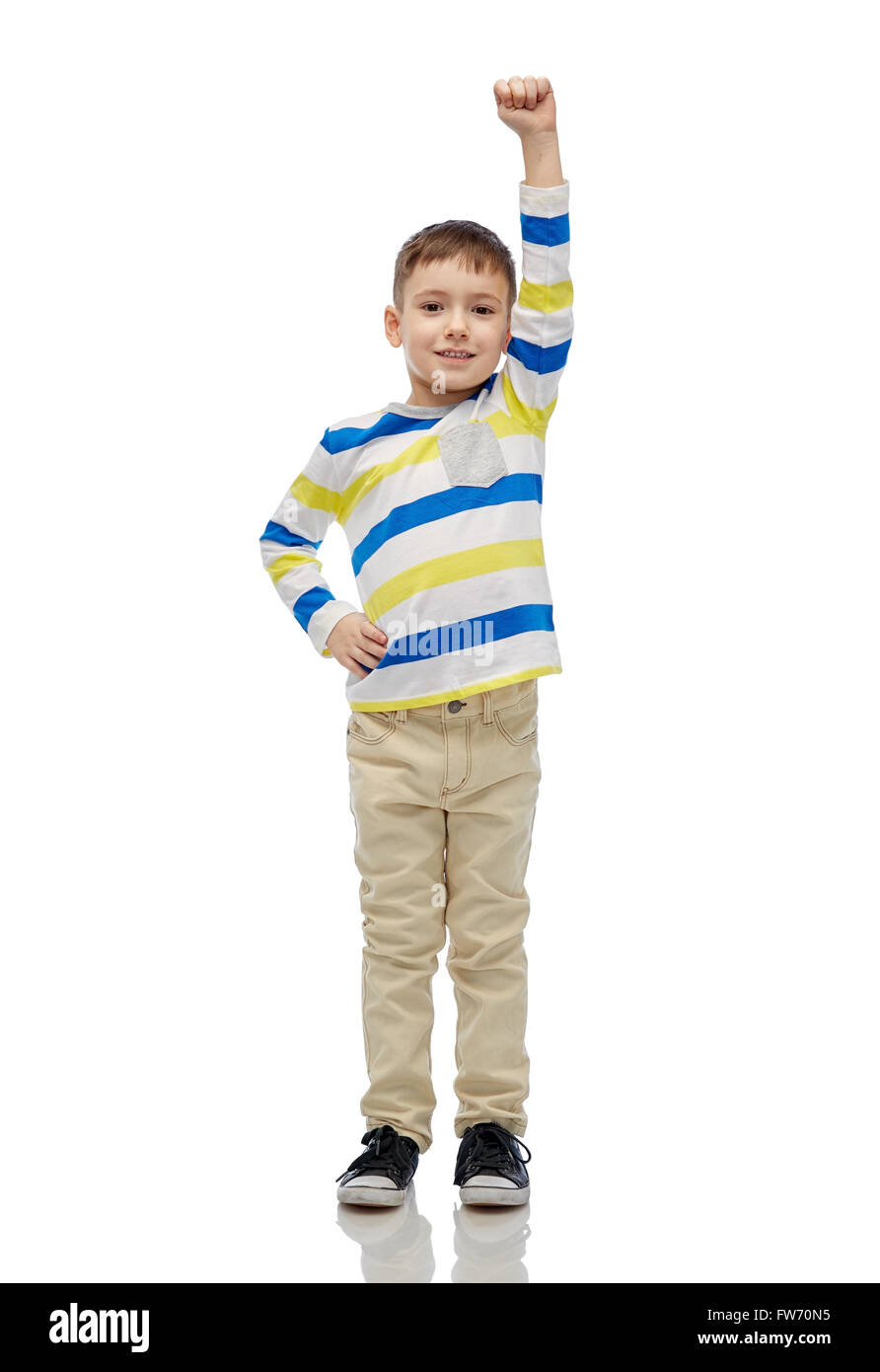 608c11a030227 happy smiling little boy with raised hand Stock Photo: 101572497 - Alamy