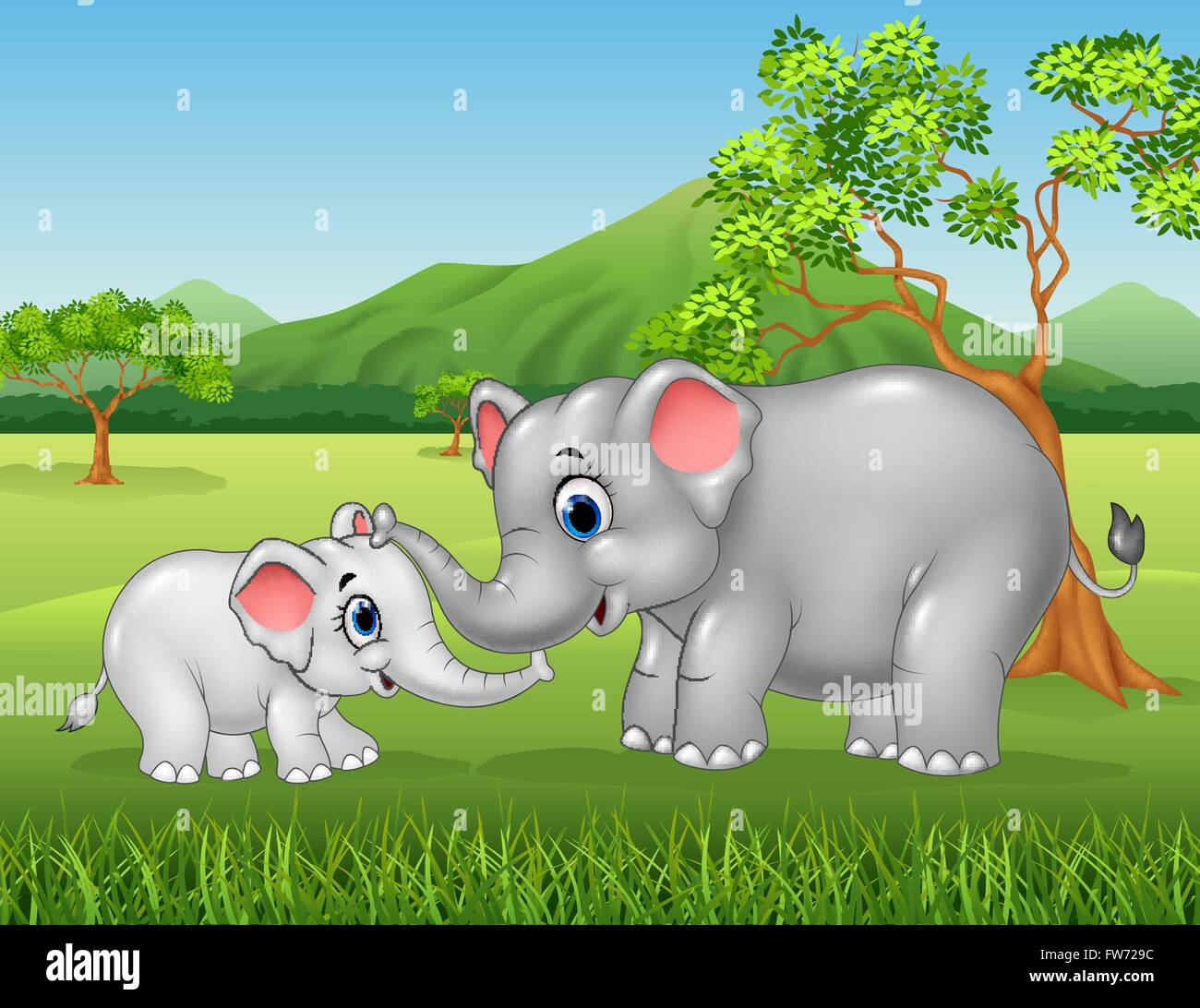 Cartoon funny mother and baby elephant on jungle background stock cartoon funny mother and baby elephant on jungle background voltagebd Images