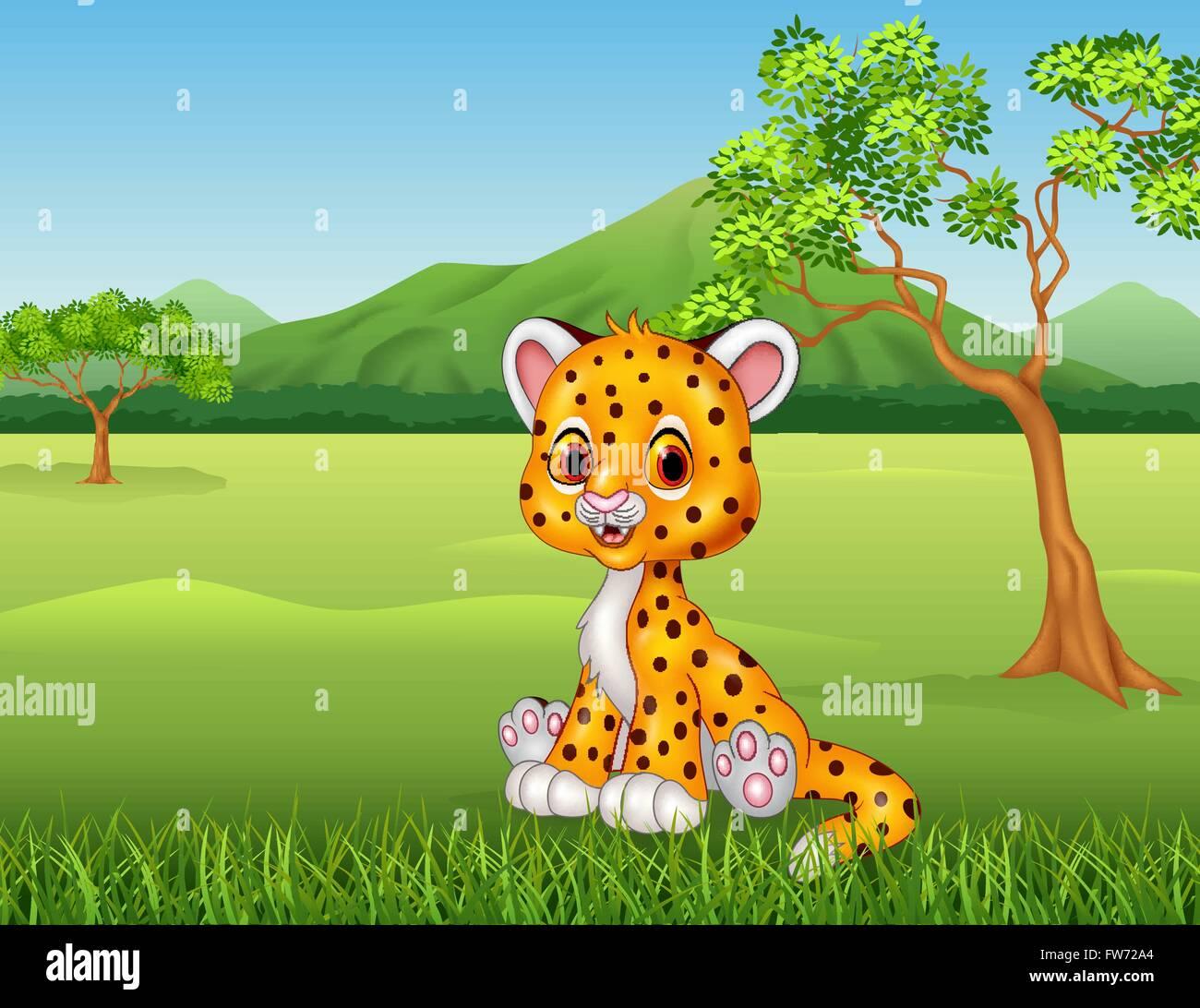 Cute baby cheetah in jungle Stock Vector