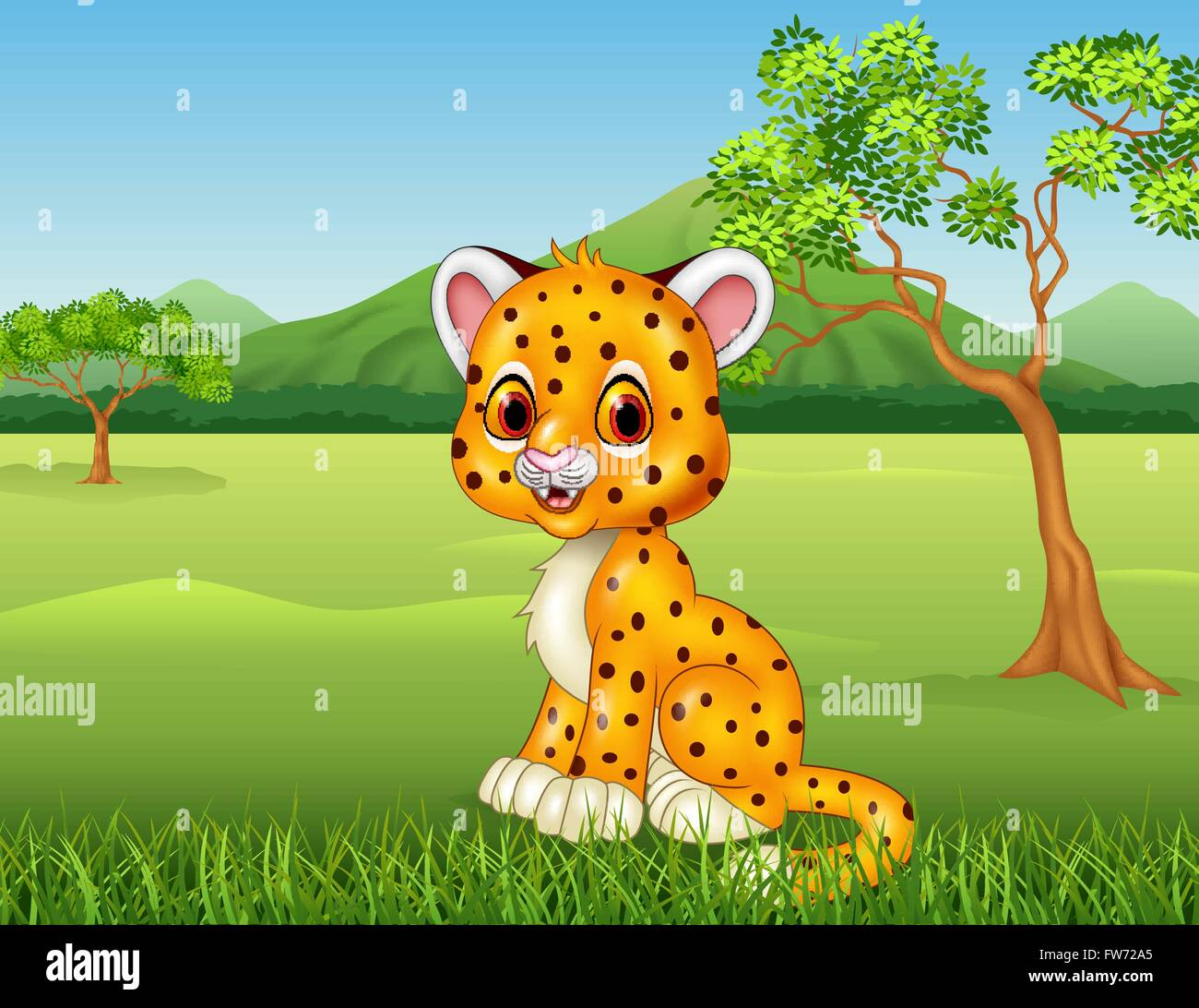 Cute baby cheetah in jungle Stock Vector