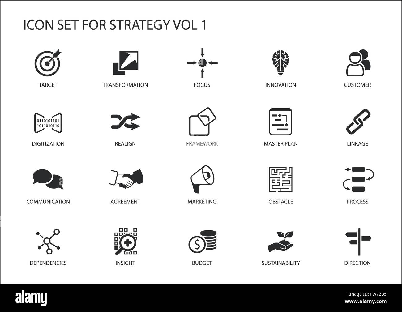 Strategy icon set. Various symbols for strategic topics like target, obstacle, direction, focus, realignment, insight - Stock Image