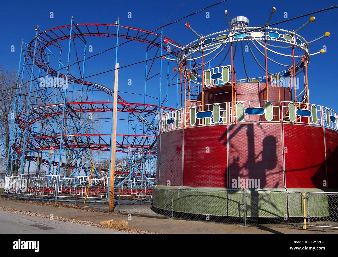 closed retro amusement park stock image