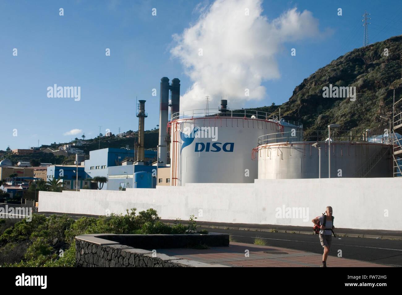 oil fired power station stations powerstation powerstations disel generator generators santa cruz de la plama canary - Stock Image