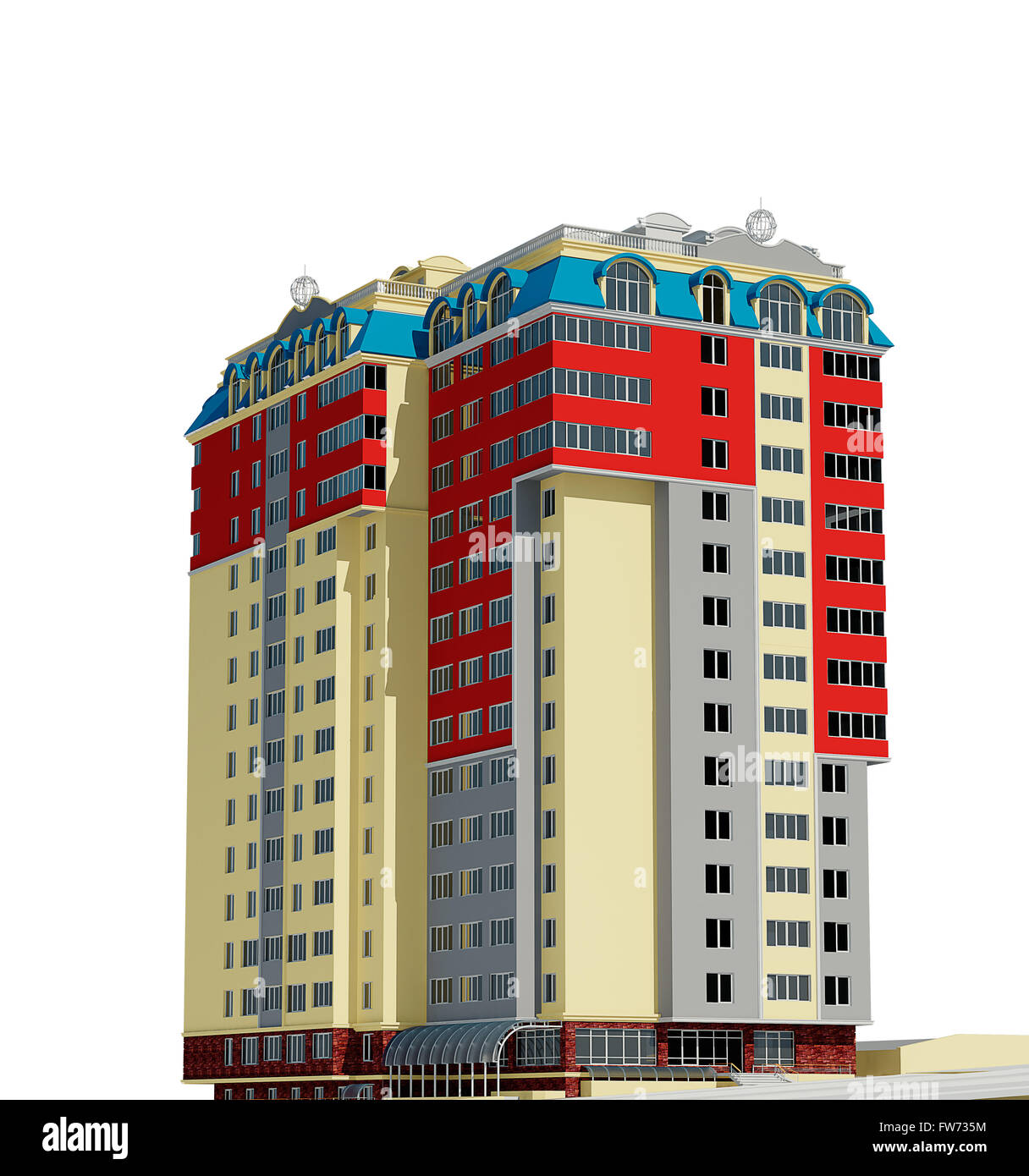 Residential Building 3d Stock Photos & Residential Building