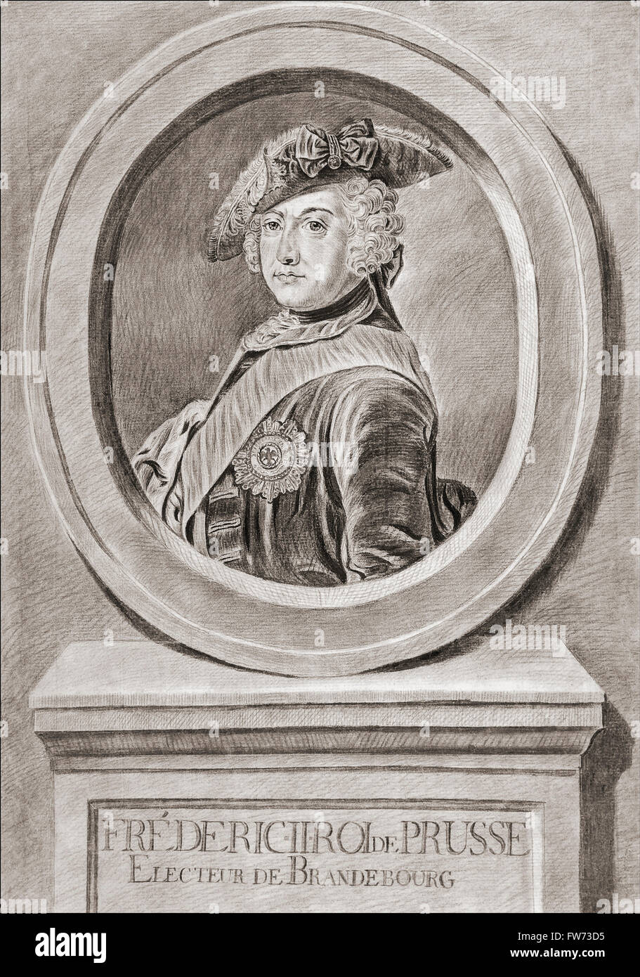 Frederick II, 1712 – 1786. King in Prussia (1740–1786) of the Hohenzollern dynasty.  Known as Frederick the Great. - Stock Image