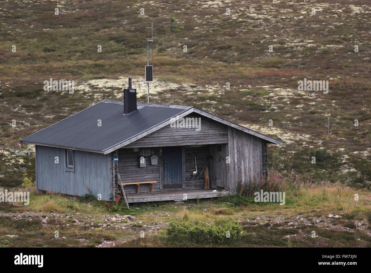 Närfjällsstugan near Sälen, Dalarna, Sweden. Raststugor ('resting huts') are public unserviced - Stock Image