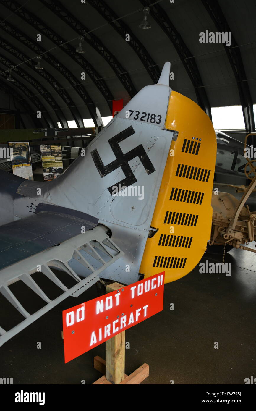 Close up of the tail insignia on a WWII German Focke Wulf 190 at the Military Aviation Museum in Virginia Beach. - Stock Image