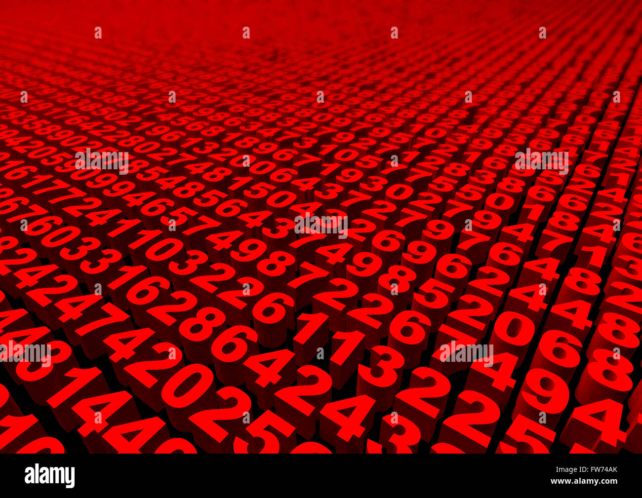Numbers / 3D render of mass of numbers, easy to colorize - Stock Image