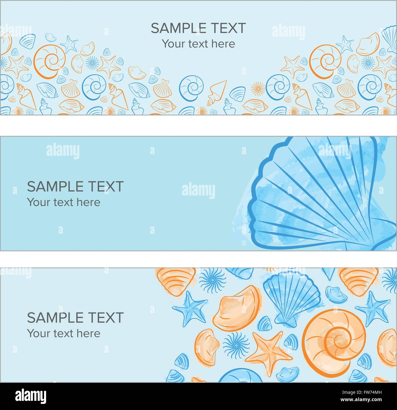 Seashell Summer Banner With Draw, Icon Created With Illustrator Watercolor  Brush   Stock Image