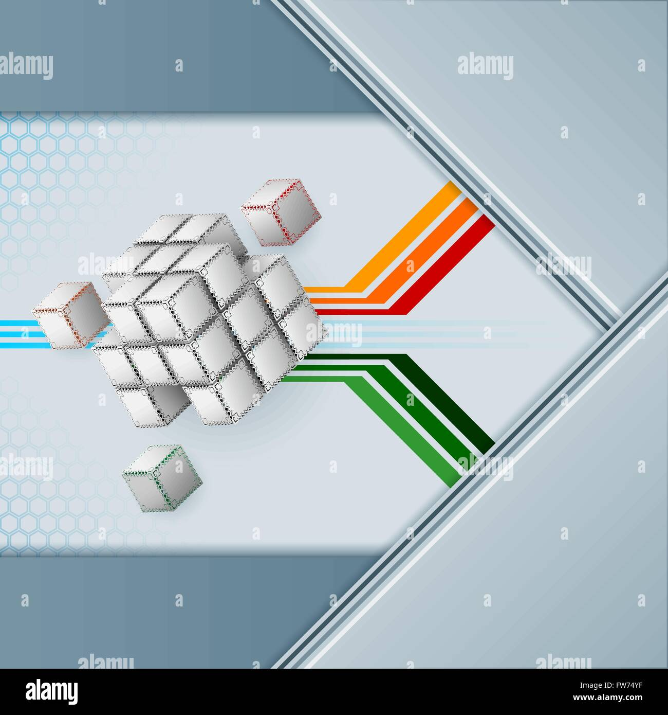 Abstract background design with cubes artistic designed with arabesques borders on all faces and geometric linear - Stock Image