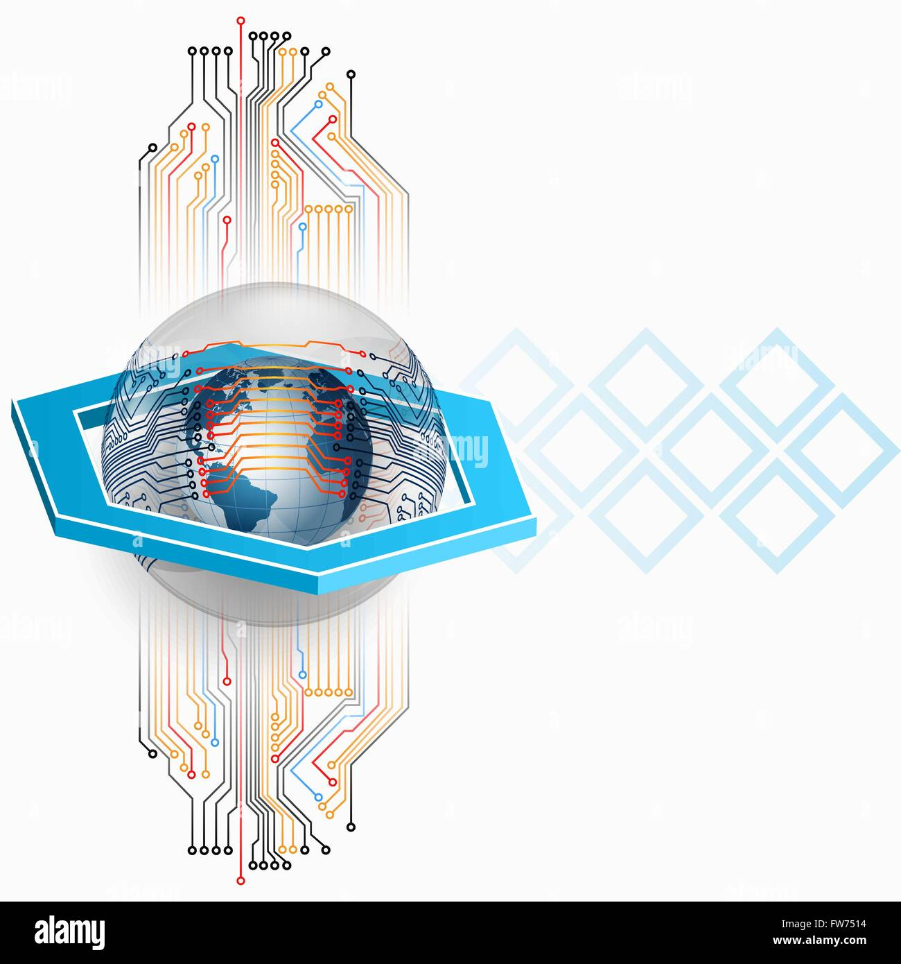 Abstract Three Dimensions Composition With Earth Globe In Glass Inside The Diagram Button Sphere Surrounded By Integrated Circuit 3d Hexagon