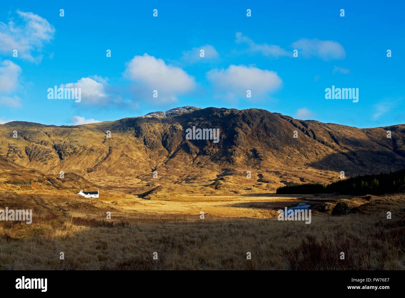 Remote cottage in Glen More, Isle of Mull, Inner Hebrides, Scotland UK - Stock Image