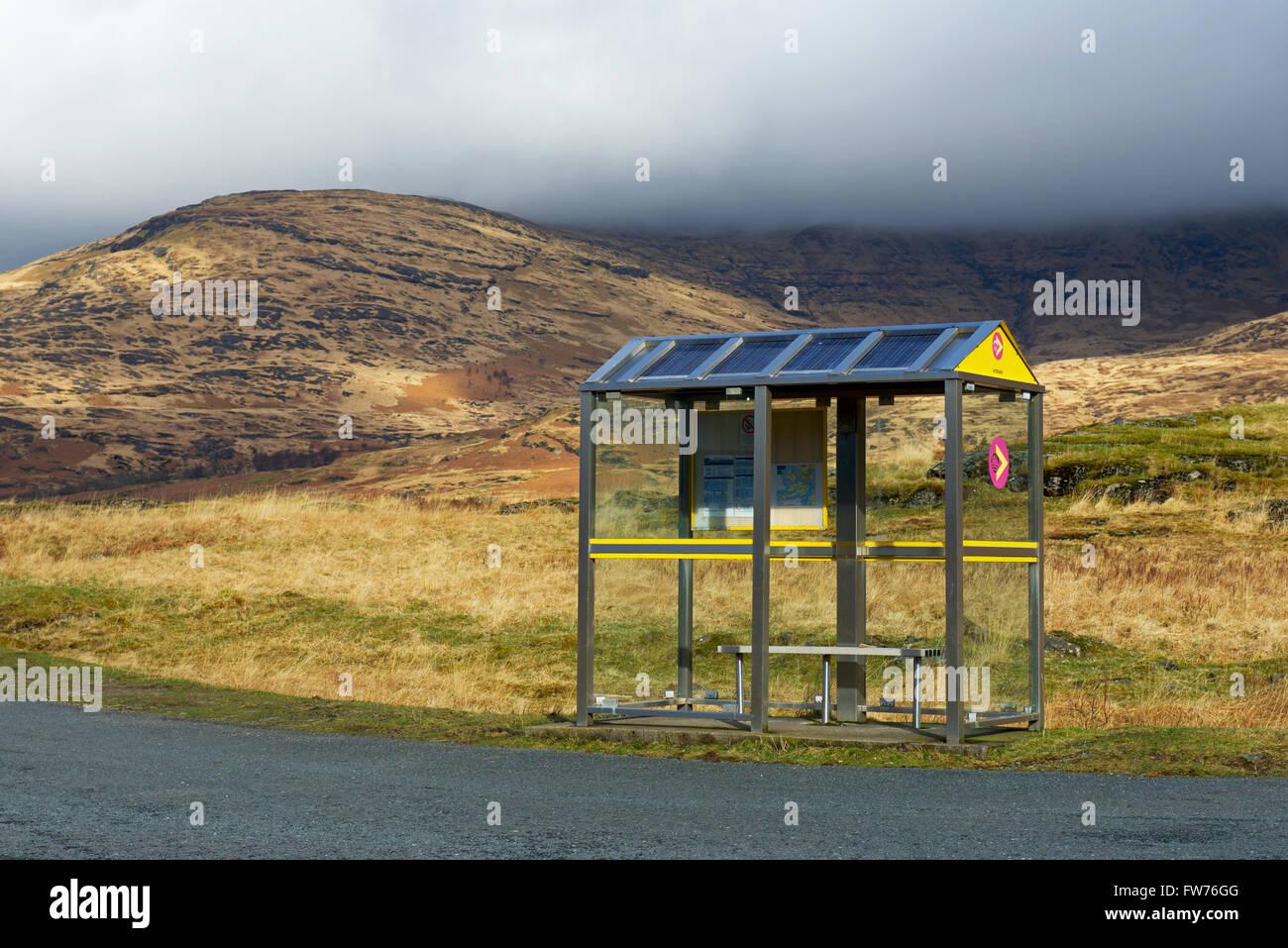 Bus shelter, Glen More, Isle of Mull, Argyll and Bute, Scotland UK - Stock Image