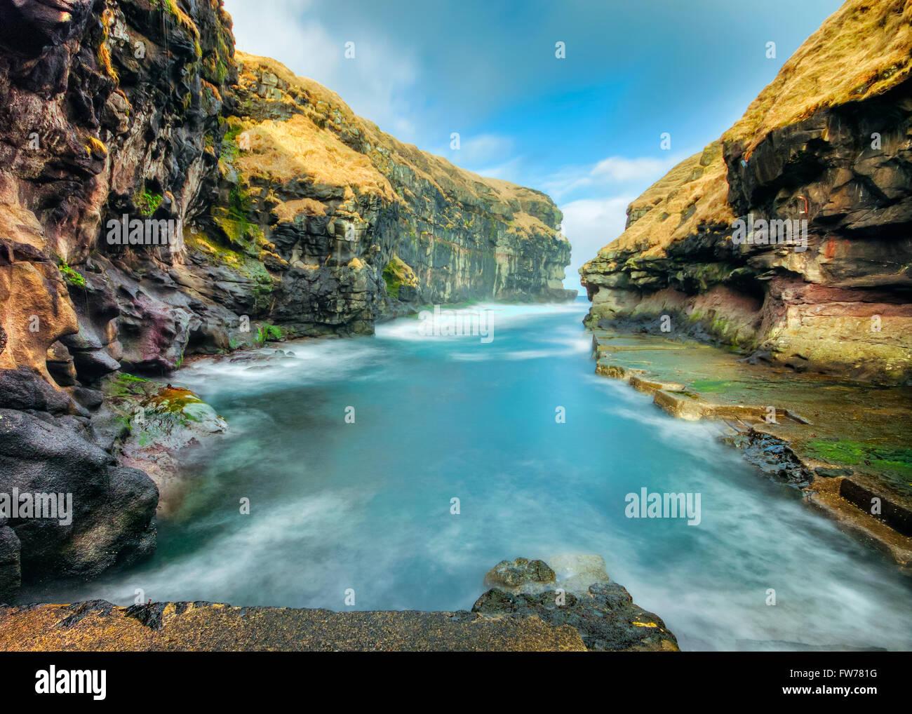 Winter Time at Gjogv, Faroe islands, Denmark Europe. Long Exposure - Stock Image