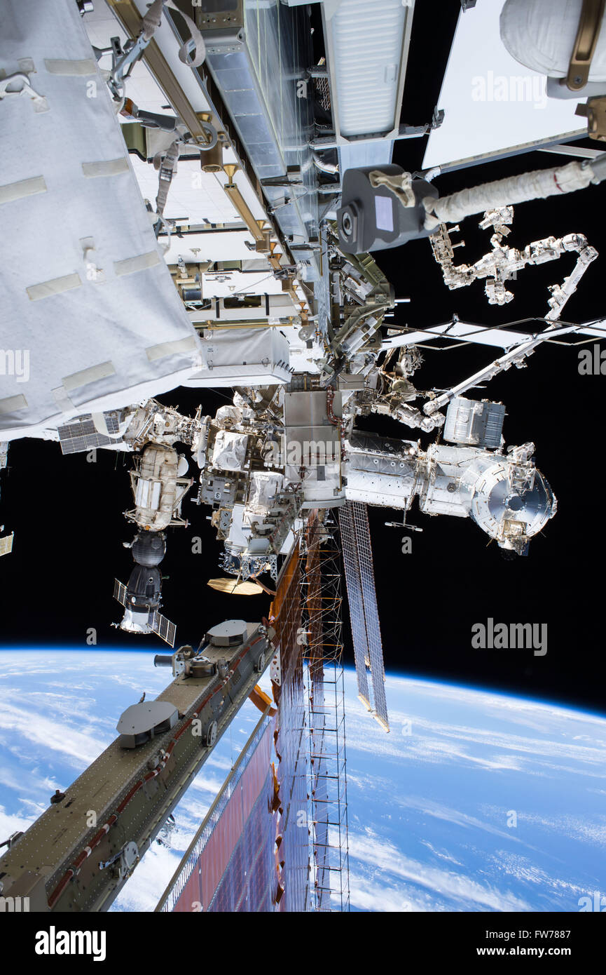 View of the International Space Station with the Soyuz spaceship attached January 15, 2016 in Earth Orbit. - Stock Image