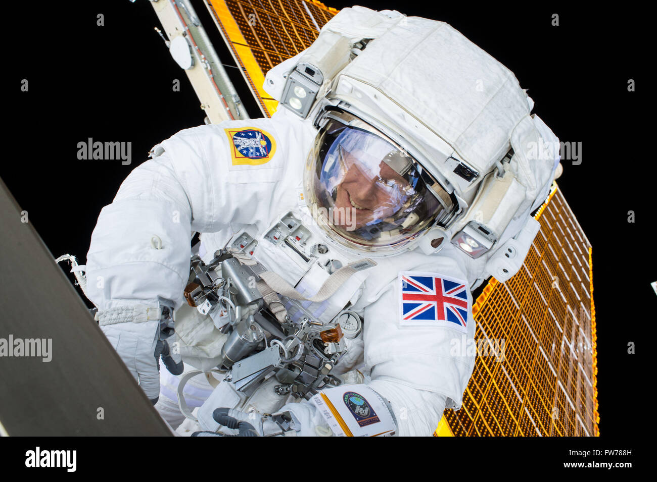 European Space Agency astronaut Tim Peake during a spacewalk outside the International Space Station January 15, - Stock Image