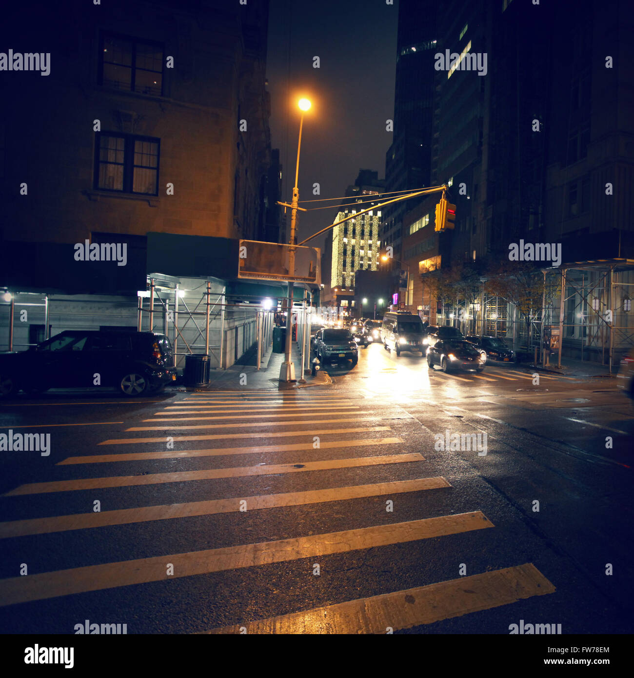 New York crosswalk at night - Stock Image