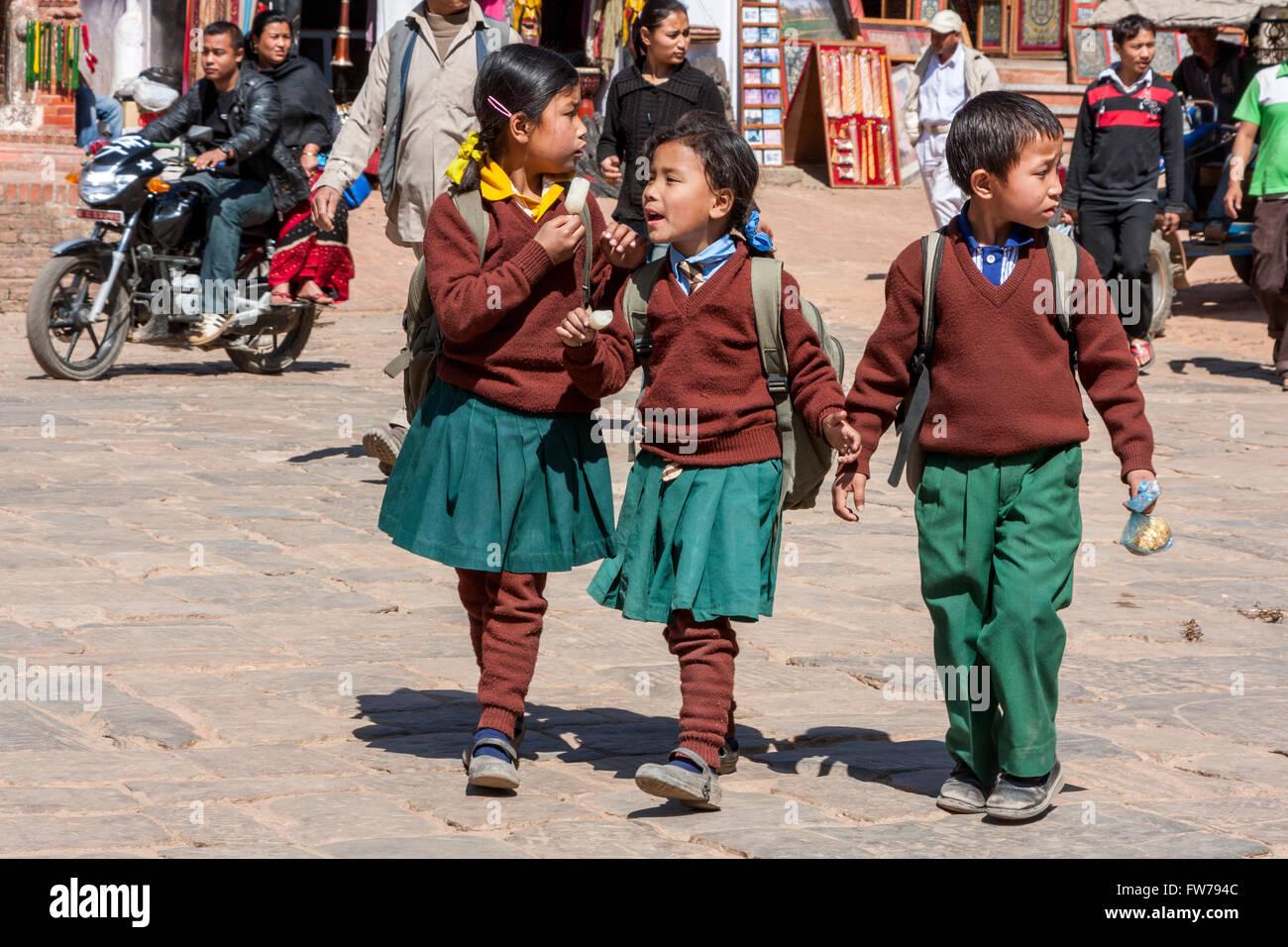 Bhaktapur, Nepal.  Young Nepali Schoolchildren in School Uniforms. - Stock Image