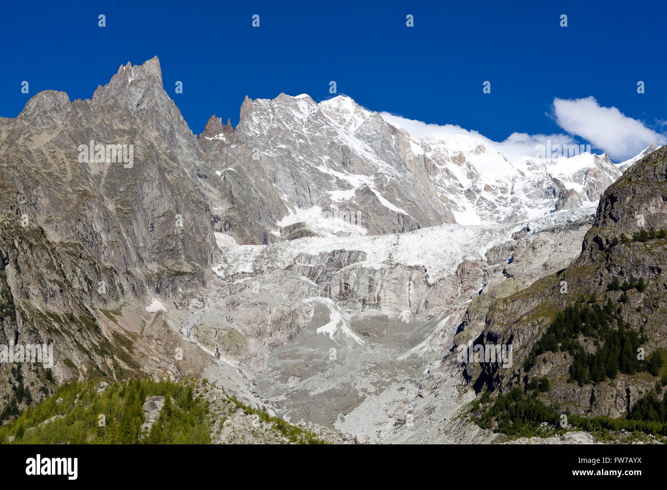 Monte Bianco Courmayeur Italy ice rock wall - Stock Image