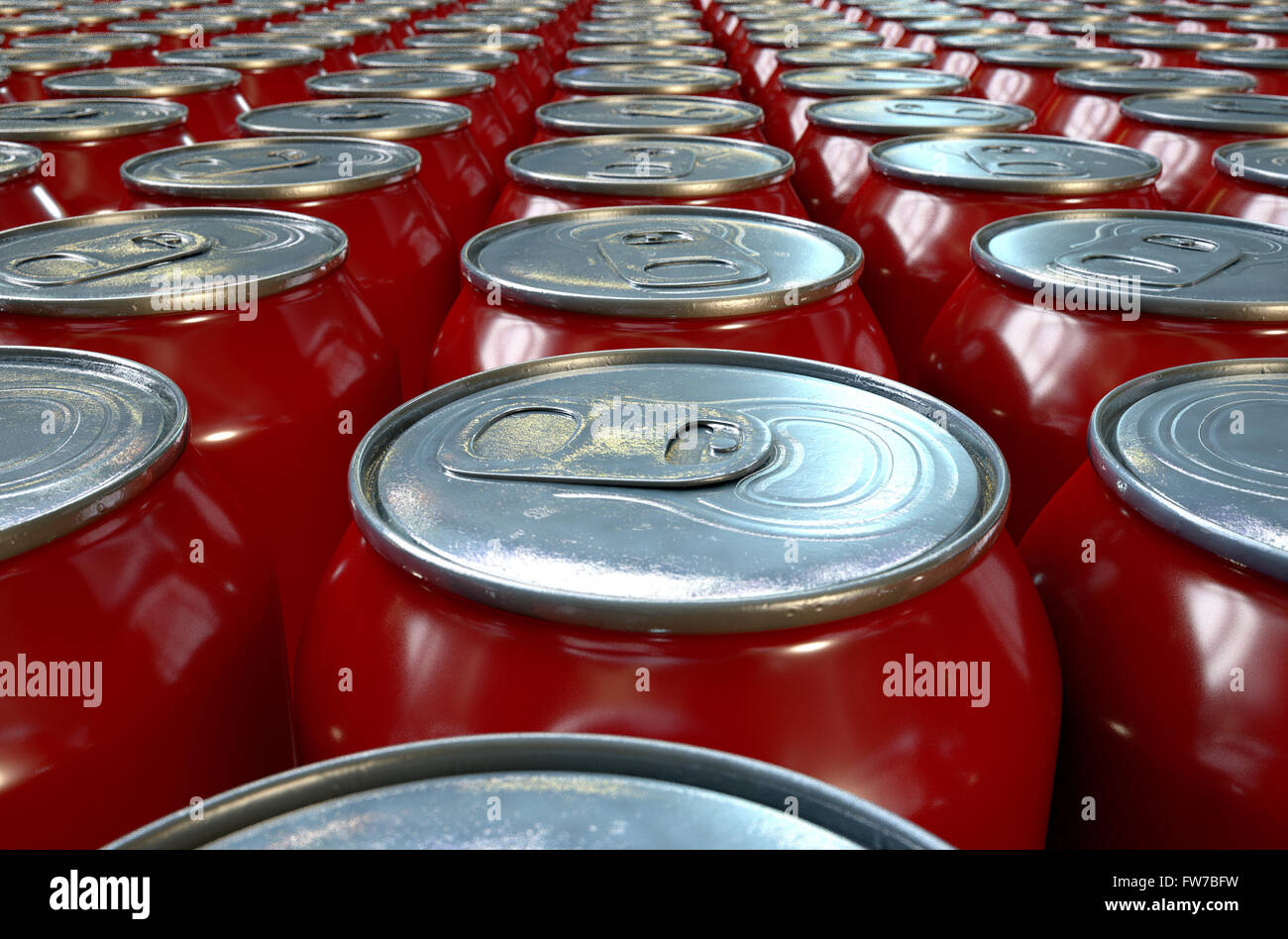 A collection of tin drink cans at the end of a factory production line - Stock Image