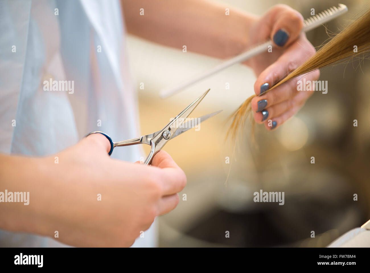Professional hairdresser cutting hair of her client - Stock Image