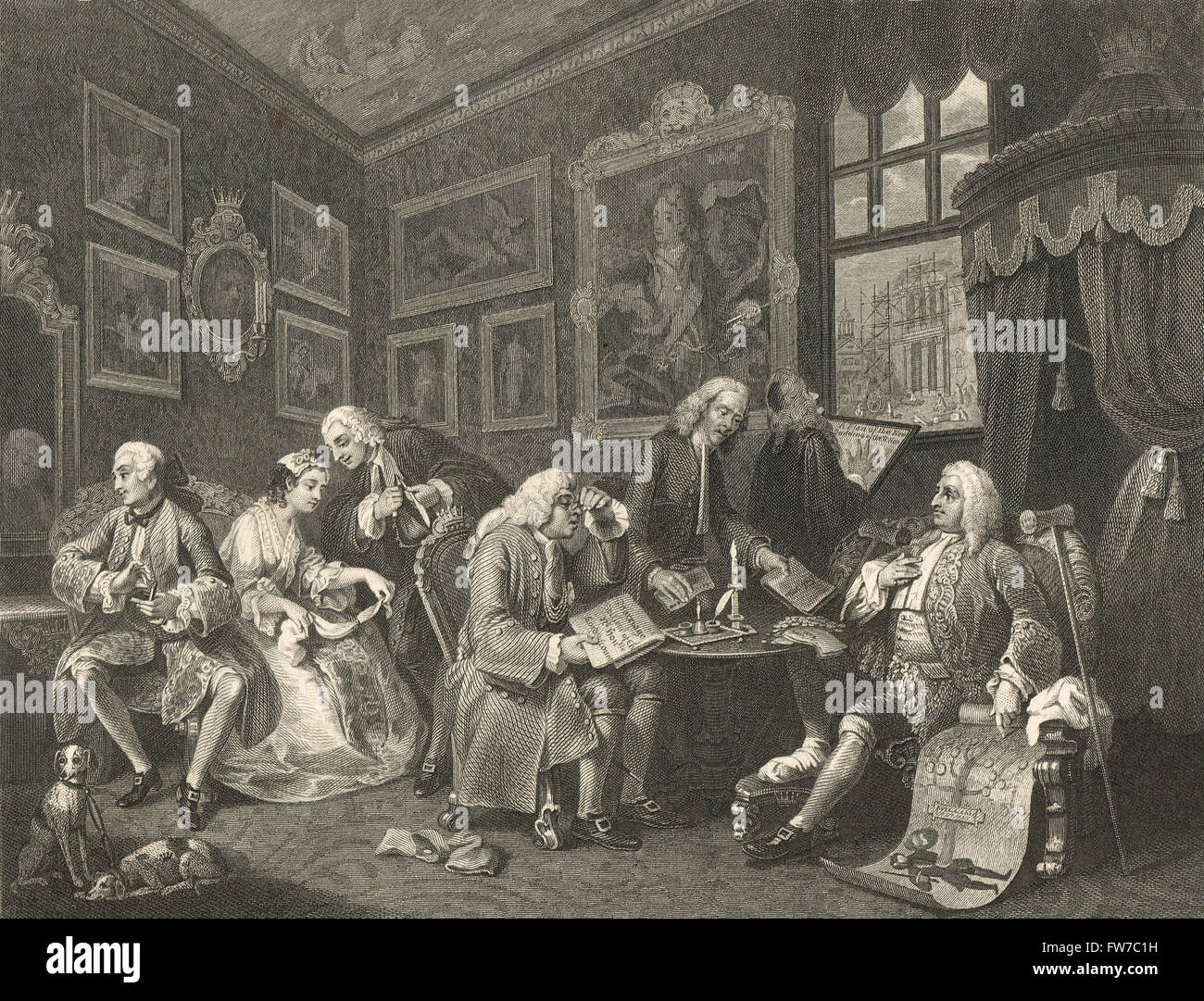 William Hogarth Marriage a la mode.  The Contract or the marriage settlement Stock Photo