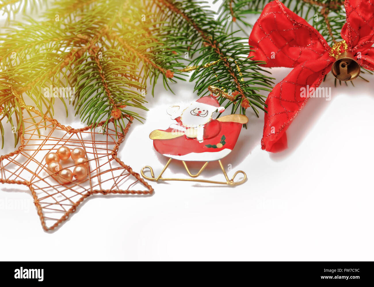 Traditional Christmas decorations with copy space on white background - Stock Image