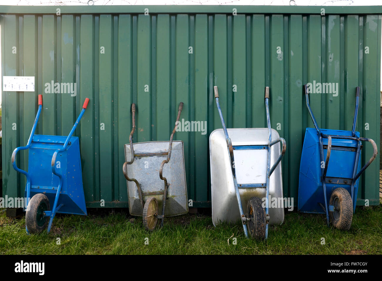 Wheelbarrows lined up at an allotment, Shropshire, England, UK - Stock Image
