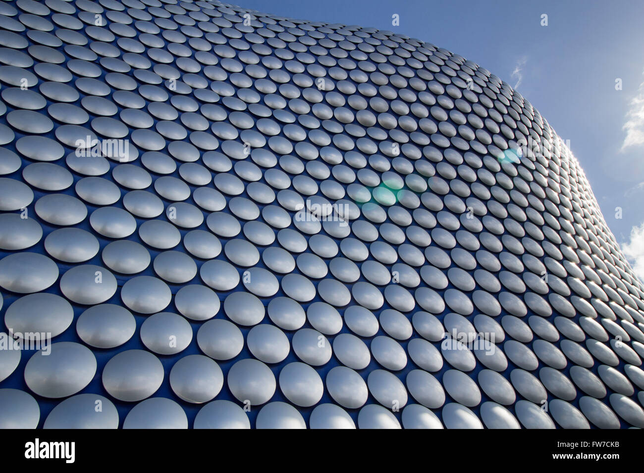 Silver discs adorning the exterior of the Selfridges building in Birmingham Bullring shopping centre - Stock Image