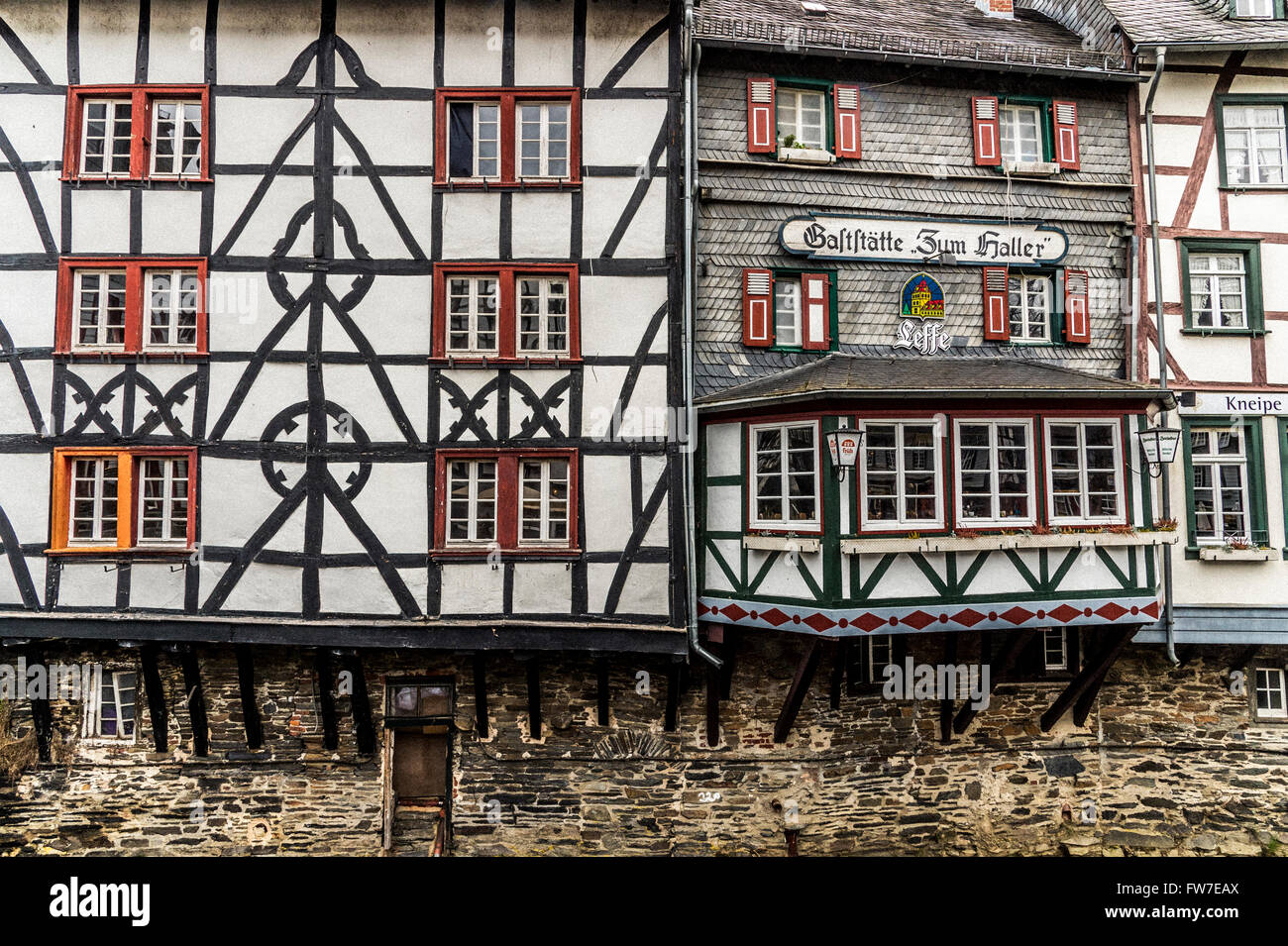 Street scene in the old medieval town of Monschau in northwest Germany, - Stock Image