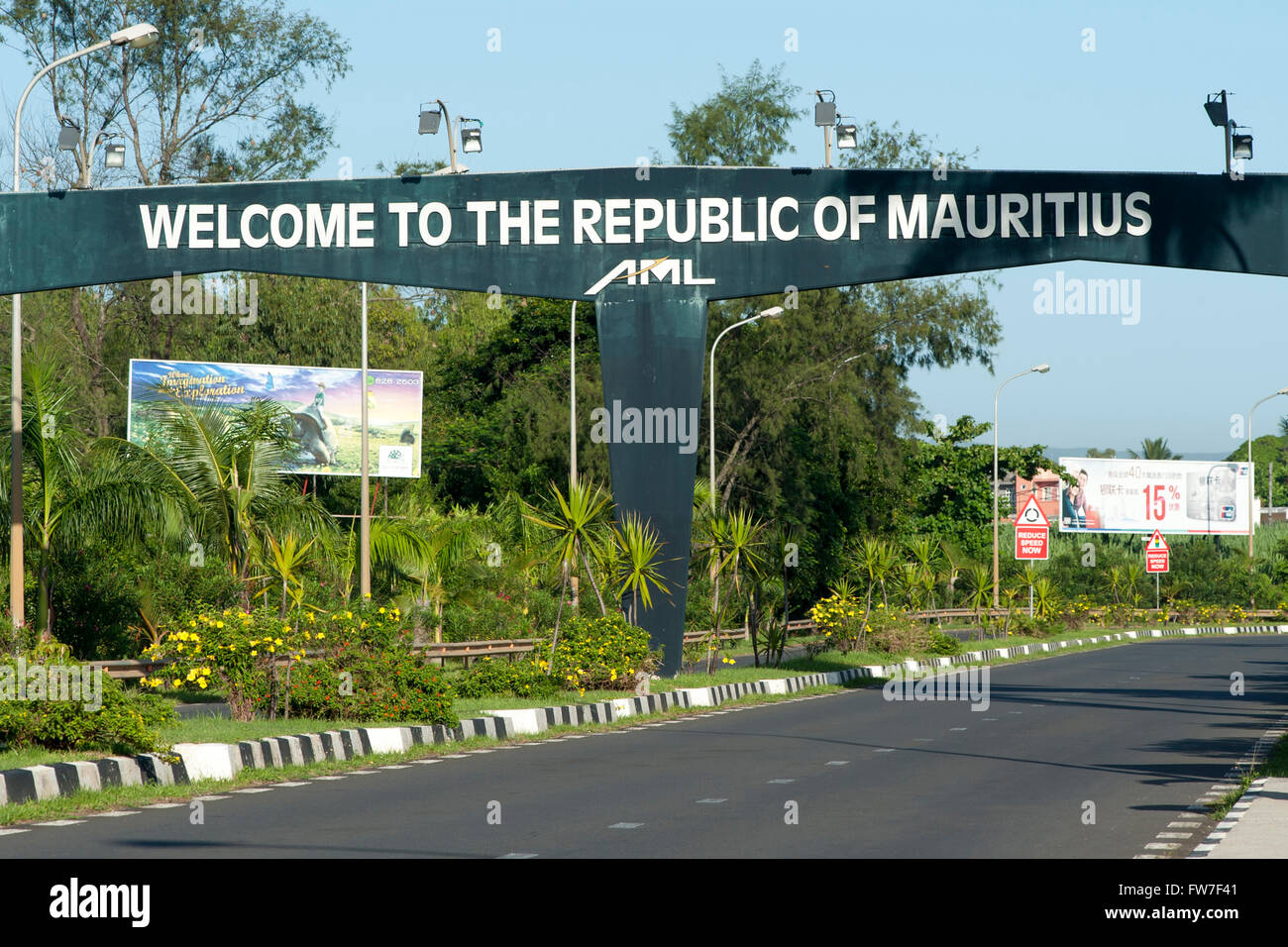 Welcome sign near Sir Seewoosagur Ramgoolam airport in Mauritius. - Stock Image