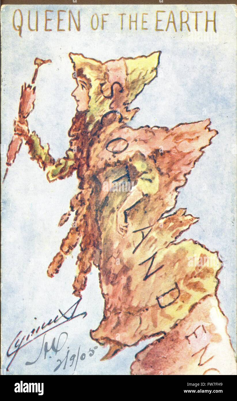 Postcard map of Scotland titled Queen of the Earth - Stock Image