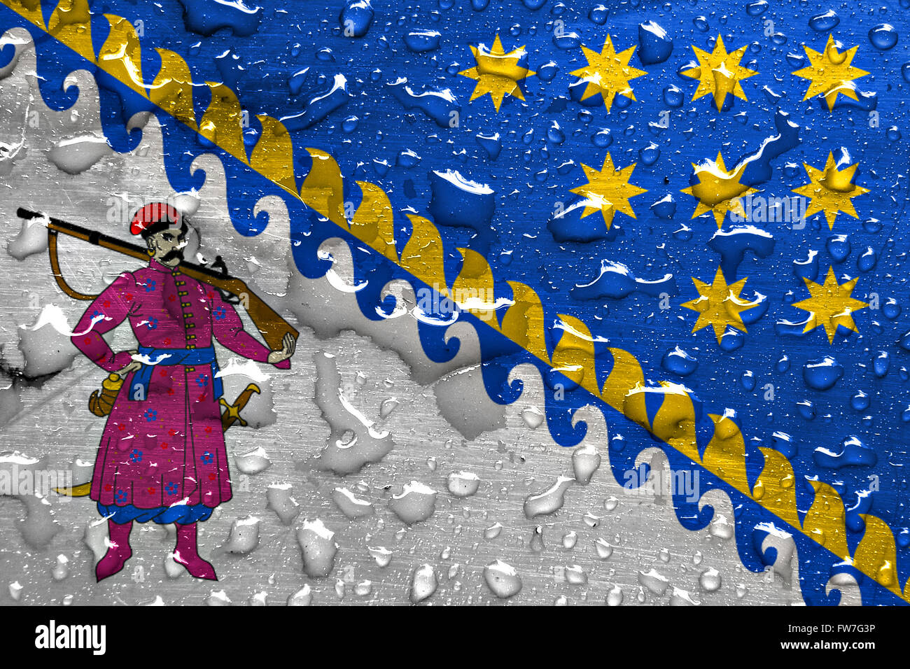 flag of Dnipropetrovsk Oblast with rain drops - Stock Image