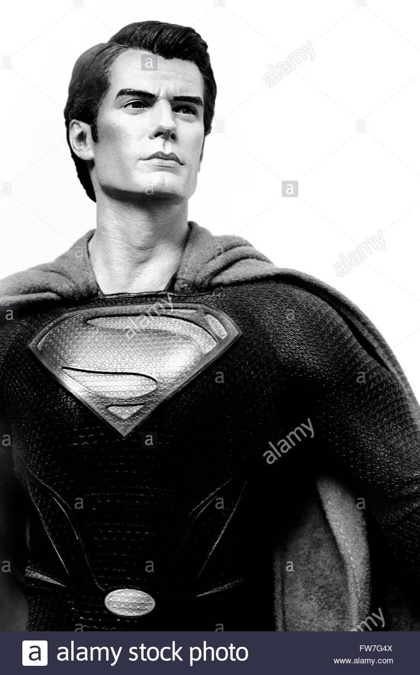 Black and white Life Size Model of Superman - Stock Image