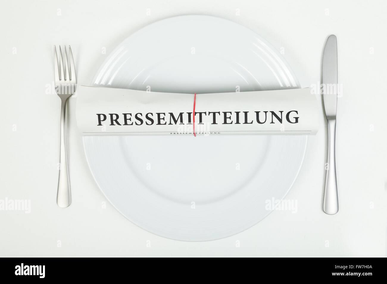 Press release (in german) Stock Photo