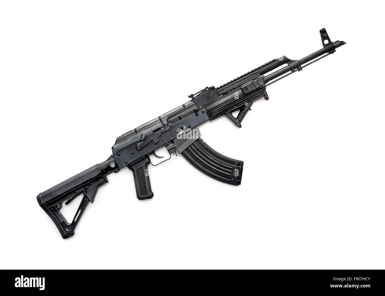 Tactical custom built AK-47 rifle on white background - Stock Image