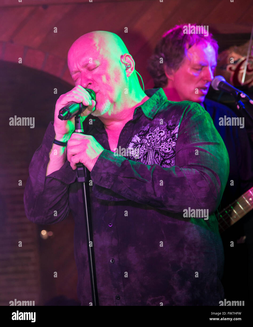 Rock & Roll band Hairitage playing music in the Victoria Tavern; Salida; Colorado; USA - Stock Image
