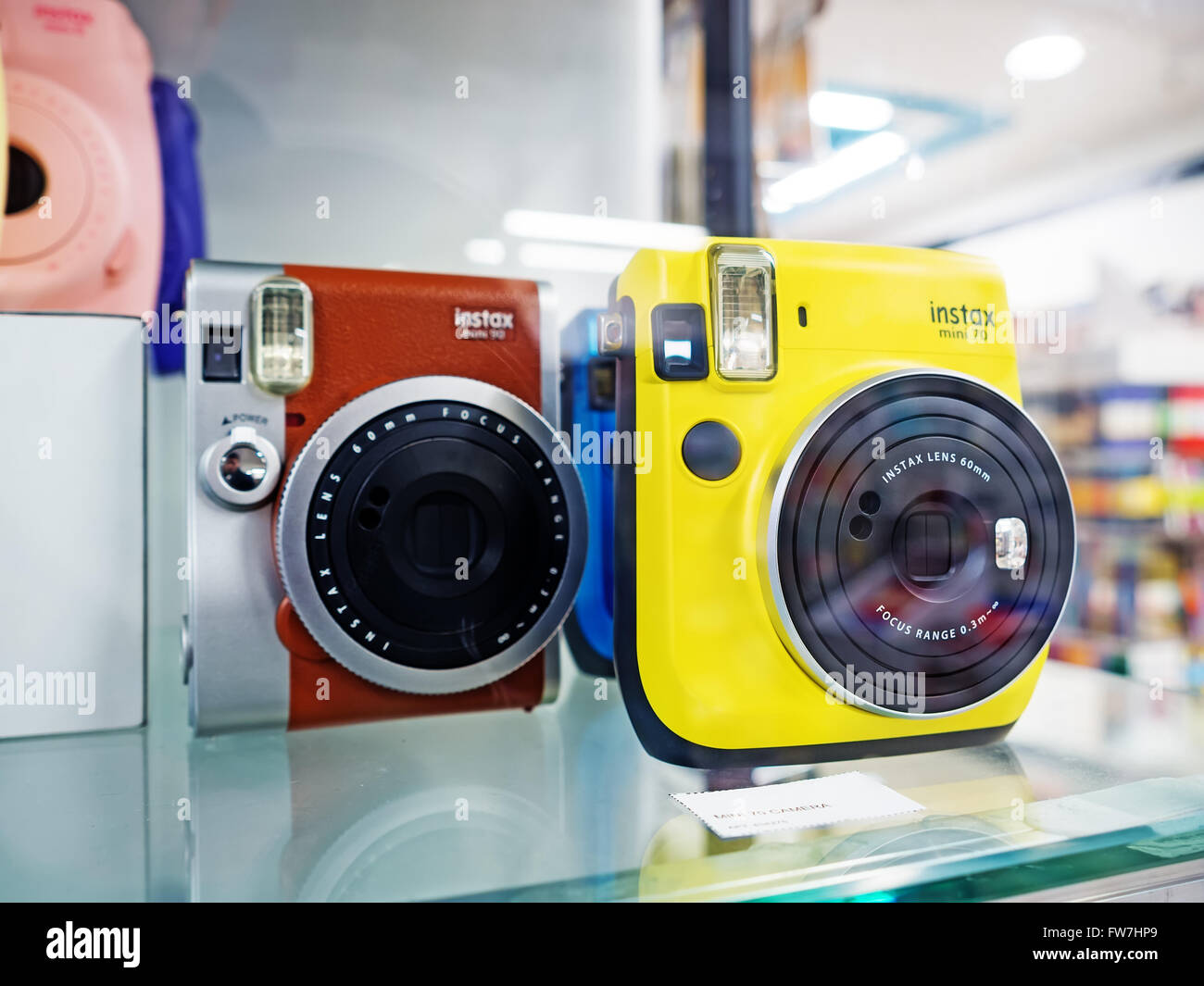 GUM Shop, Moscow, Russia - February 21, 2016: Showcase with Instax Fujifilm cameras - Stock Image