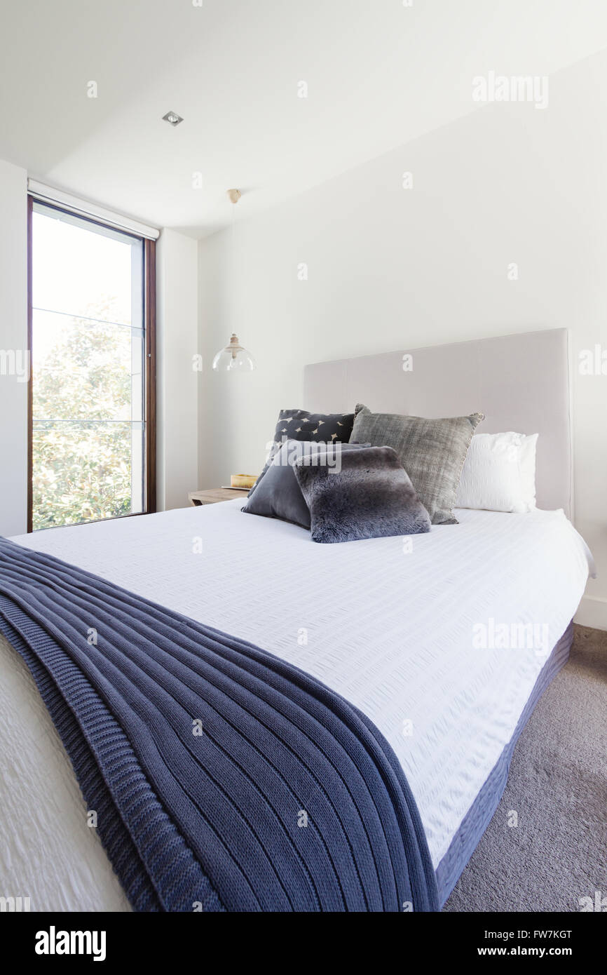 Navy Gray And White Color Scheme In Luxury Bedroom Decor Interior Stock Photo Alamy