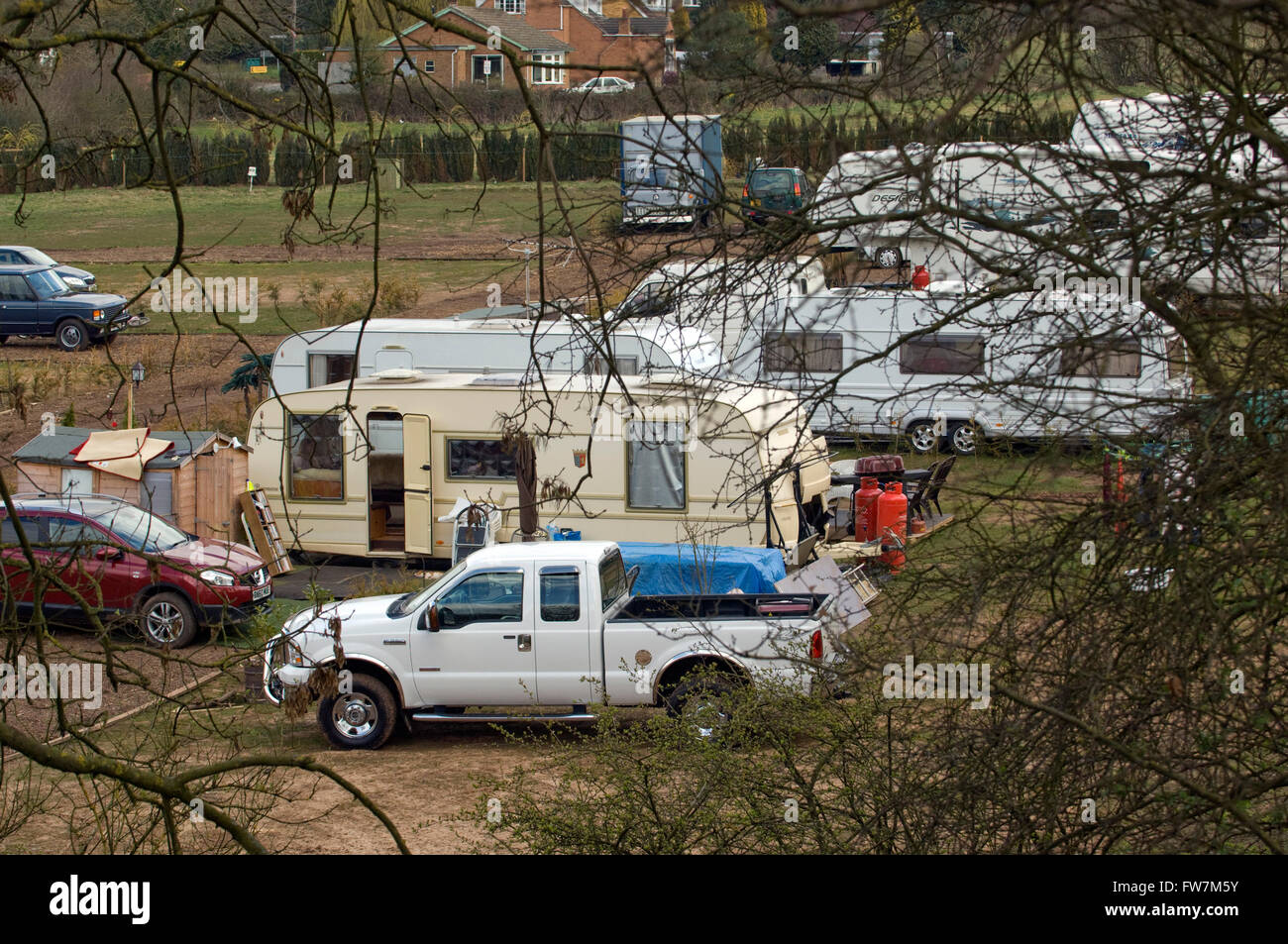 The village of Meriden,West Midlands,UK,said to be The Centre of England,where a large gypsy camp has caused problems. Stock Photo