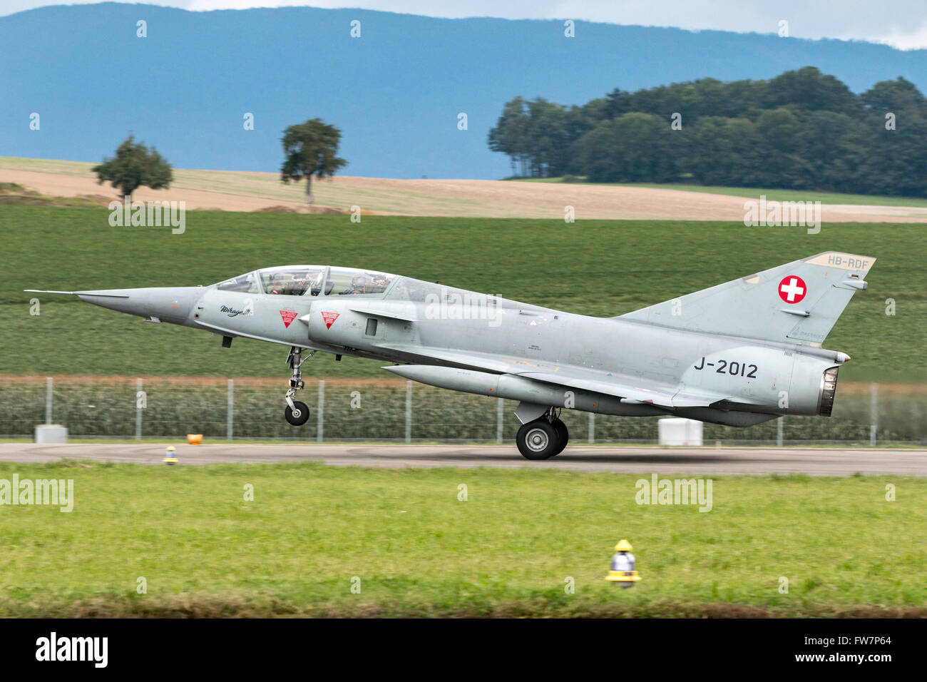 Dassault Mirage III DS fighter aircraft in Swiss Air Force markings (J-2012), the aircraft carries the civil registration - Stock Image