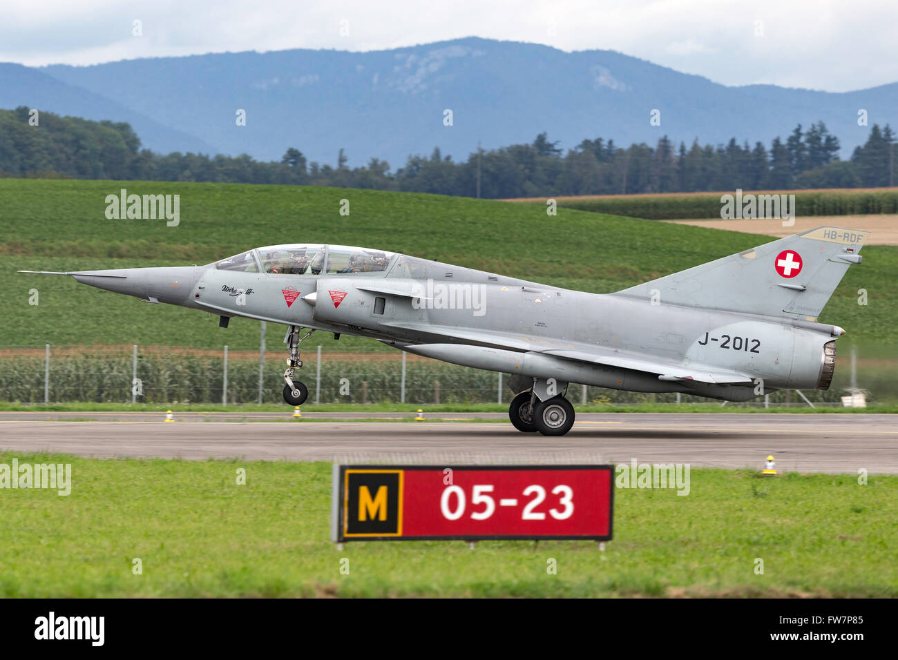 Dassault Mirage III DS fighter aircraft in Swiss Air Force markings (J-2012), the aircraft carries the civil registration Stock Photo
