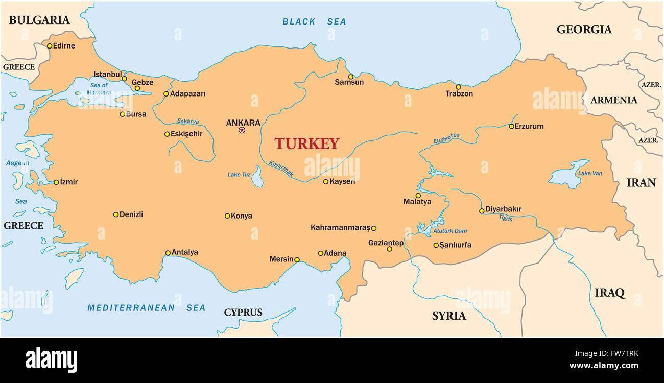 Map Of Turkey Stock Photos & Map Of Turkey Stock Images - Alamy