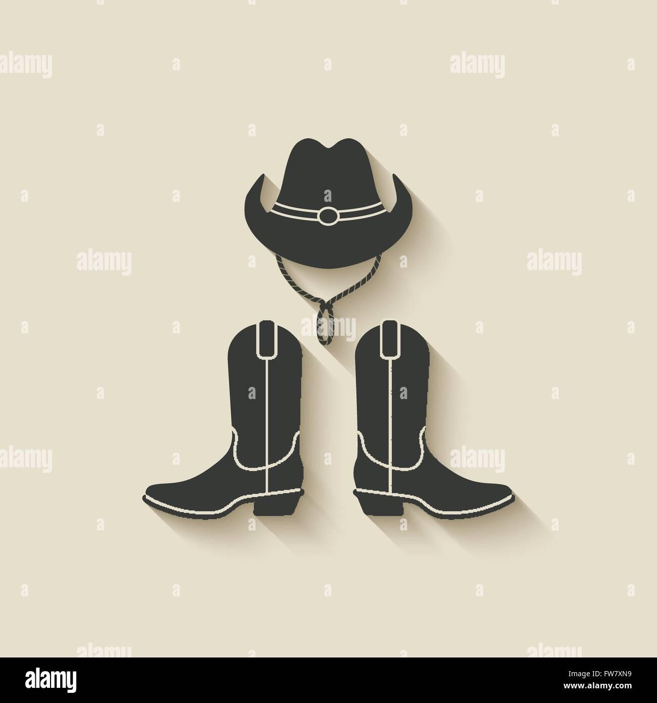 2b8b1458cc0 cowboy hat boots icon - vector illustration. eps 10 - Stock Vector